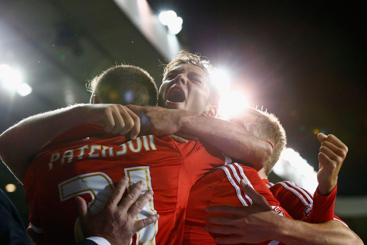 Jorge Grant celebrates scoring on his debut at White Hart Lane
