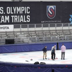 Curlers compete at the Utah Olympic Oval in Kearns on Thursday, June 17, 2021.
