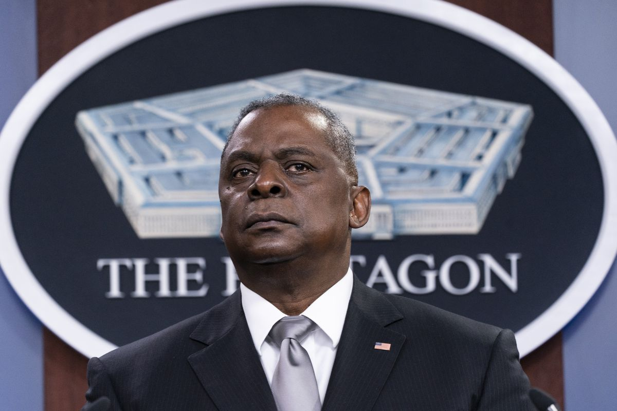 Secretary of Defense Lloyd Austin listens to a question as he speaks during a media briefing at the Pentagon, Friday, Feb. 19, 2021, in Washington.
