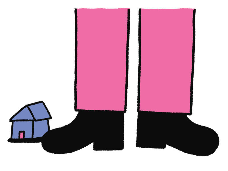 A giant pair of legs and feet stand next to a tiny purple house with a pink door. This is an illustration.