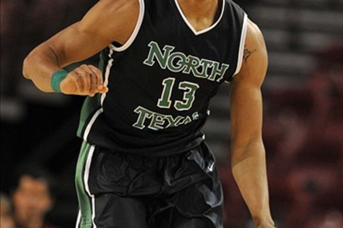 February 26, 2012; Denver CO, USA;  North Texas Mean Green forward Tony Mitchell (13) brings the ball upcourt during the first half against the North Texas Mean Green at Magness Arena. Mandatory Credit: Andrew B. Fielding-US PRESSWIRE