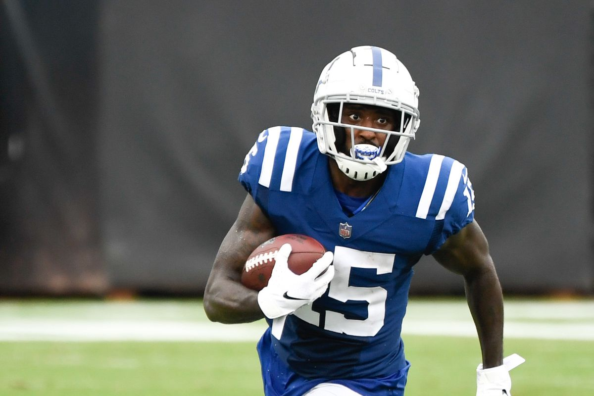 Indianapolis Colts wide receiver Parris Campbell runs with the ball during the third quarter against the Jacksonville Jaguars at TIAA Bank Field.