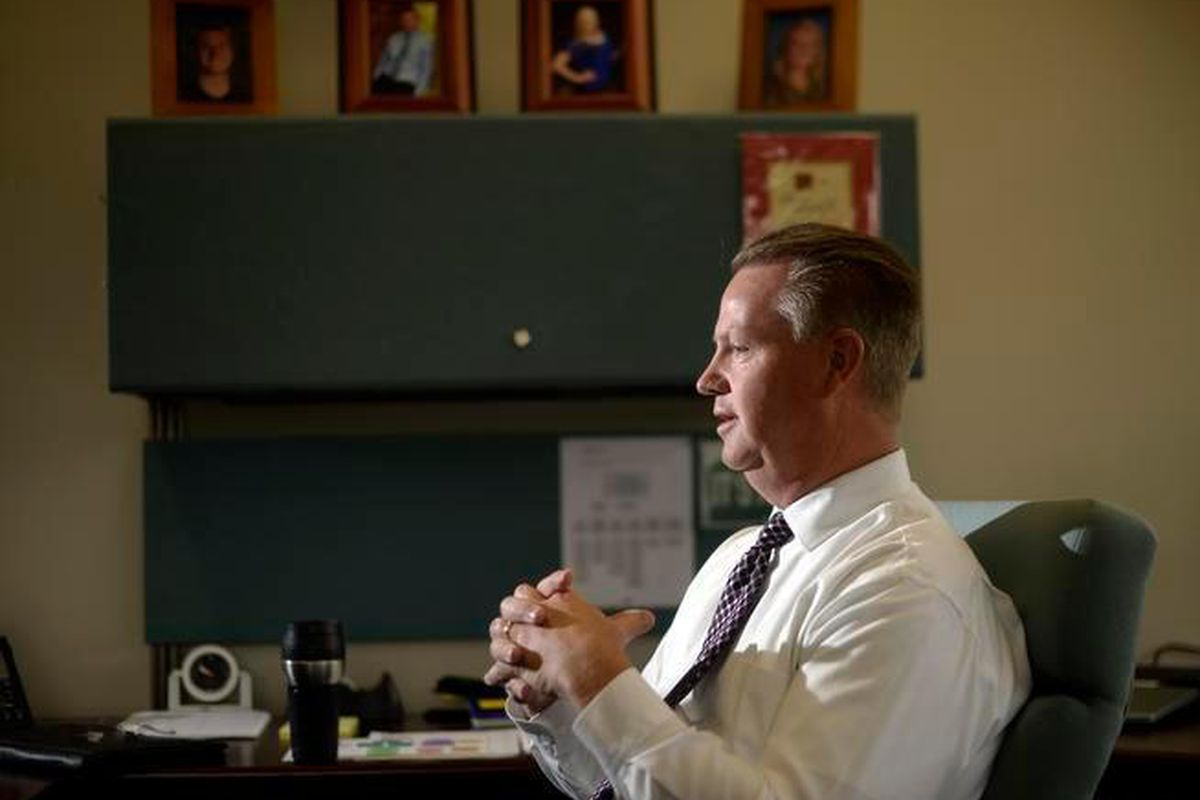 JeffCo Public Schools Superintendent Dan McMinimee, at his office, in 2014 during his second week on the job.