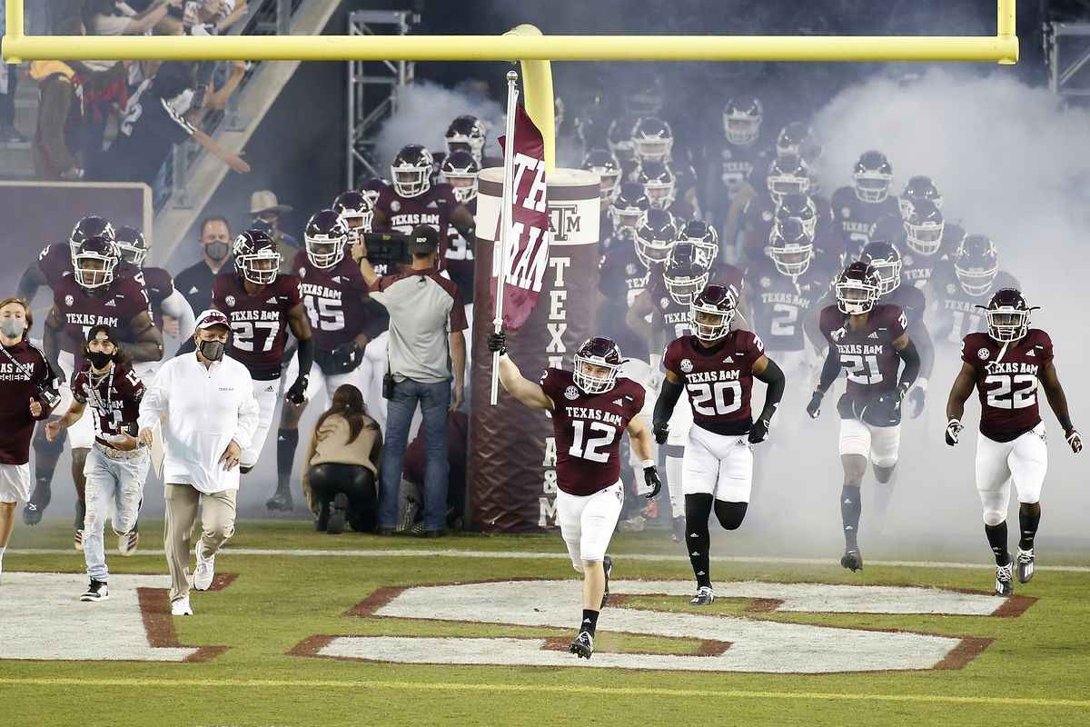 Texas A&M Aggies take the field before the game against the Arkansas Razorbacks at Kyle Field on October 31, 2020 in College Station, Texas.