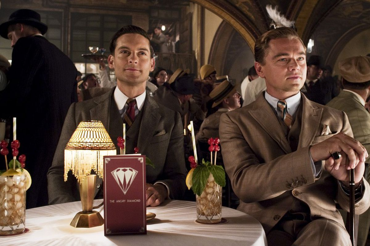 Tobey Maguire and Leo DiCaprio in Brooks Brothers for Baz Luhrmann's new film, Gatsby, via WWD