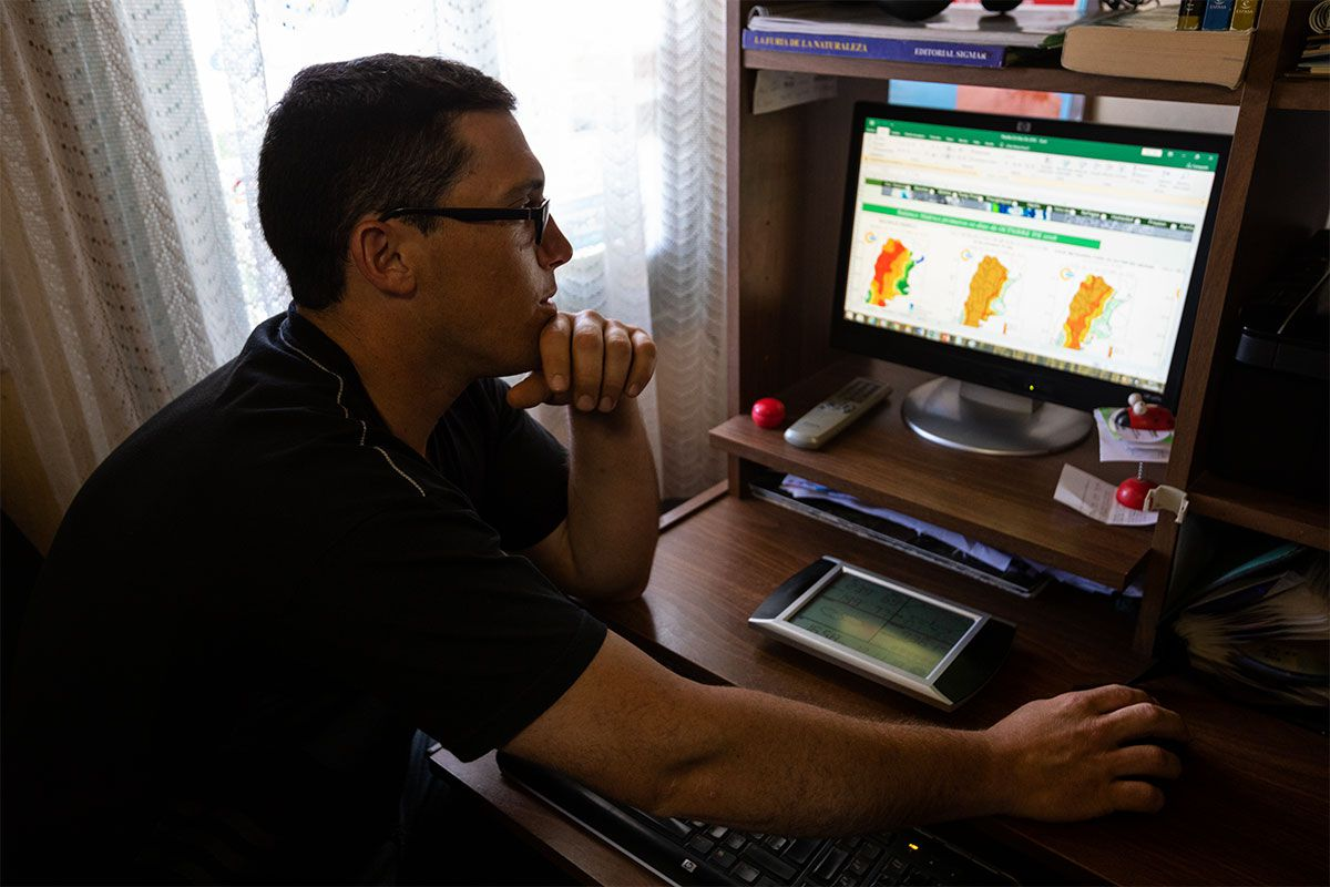 Farmer and amateur meteorologist Matías Lenardón has become a local expert on tracking weather patterns in his region, 50 miles south of Córdoba.
