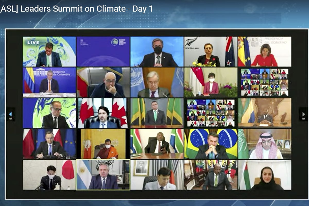 In this image from video world leaders participate in the White House Climate Leaders Summit via Zoom Thursday, April 22, 2021.