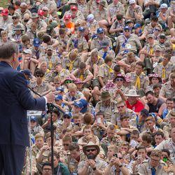Elder Jeffrey R. Holland of the LDS Church's Quorum of the Twelve Apostles speaks to several thousand Scouts and Scout leaders Sunday morning, July 23, 2017, at a morning sacrament meeting service held at the 2017 National Scout Jamboree at Summit Bechtel Reserve near Glen Jean, West Virginia.