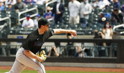 Miami Marlins starting pitcher Trevor Rogers (28) pitches against the New York Mets during the first inning at Citi Field.