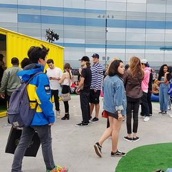 The line was never-ending at Golf Wang's shipping container pop-up.