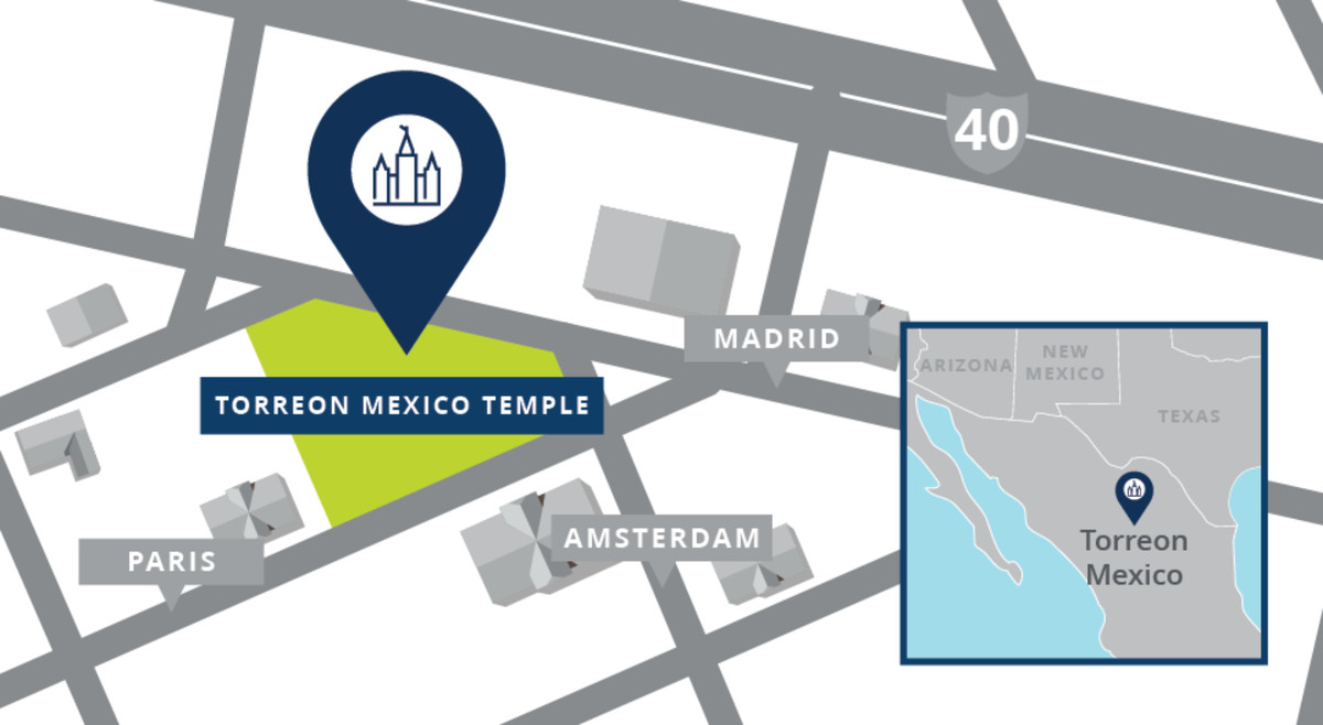 A map shows the location of the Torreón Mexico Temple.
