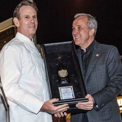 Larry Ruvo awards chef Thomas Keller with the Dom Perignon Award of Excellence at Bubble-Licious.