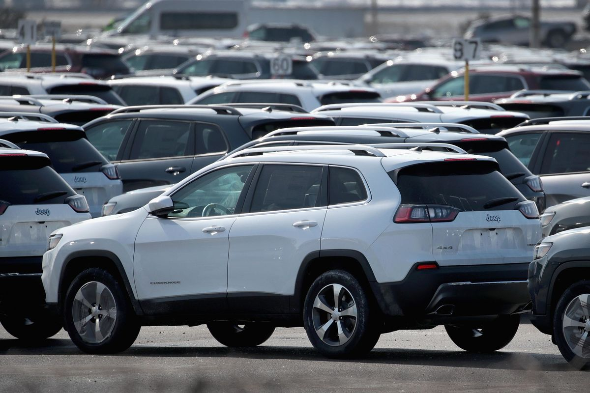 Jeep Cherokees sit on a lot at Fiat Chryslers's Belvidere Assembly Plant on February 27, 2019 in Belvidere, Illinois.