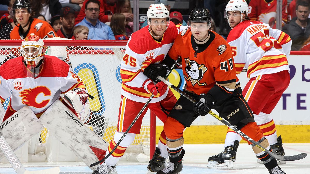 Alexander Yelesin #45 of the Calgary Flames and Max Jones #49 of the Anaheim Ducks compete for position during an NHL game on February 17, 2020 at the Scotiabank Saddledome in Calgary, Alberta, Canada.