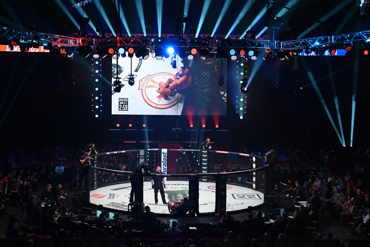 A general view of the Bellator MMA cage during the event on October 26, 2019 at the Mohegan Sun Arena in Uncasville, Connecticut.