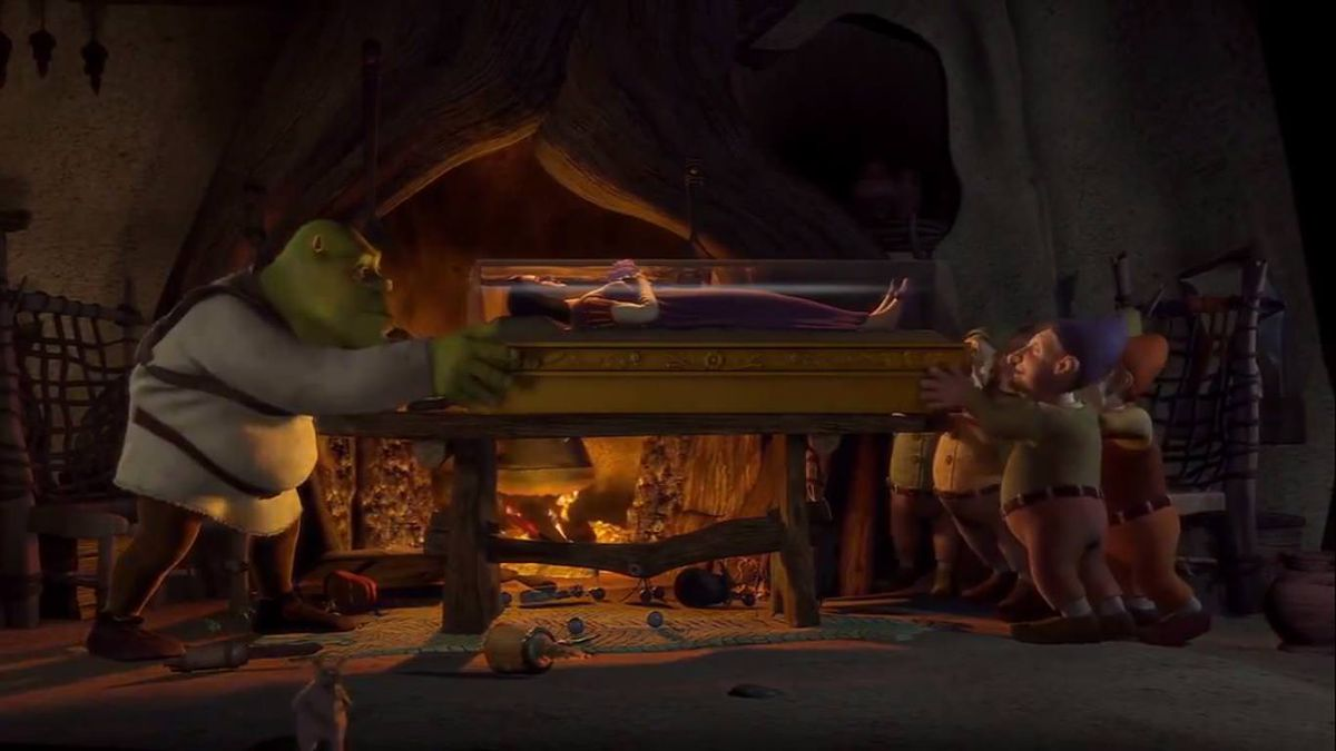 Shrek pushing against the seven dwarves as they put Snow White's coffin on his fragile table.
