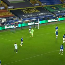 Mina belatedly moves backwards as Pickford gets there and the ball goes over.