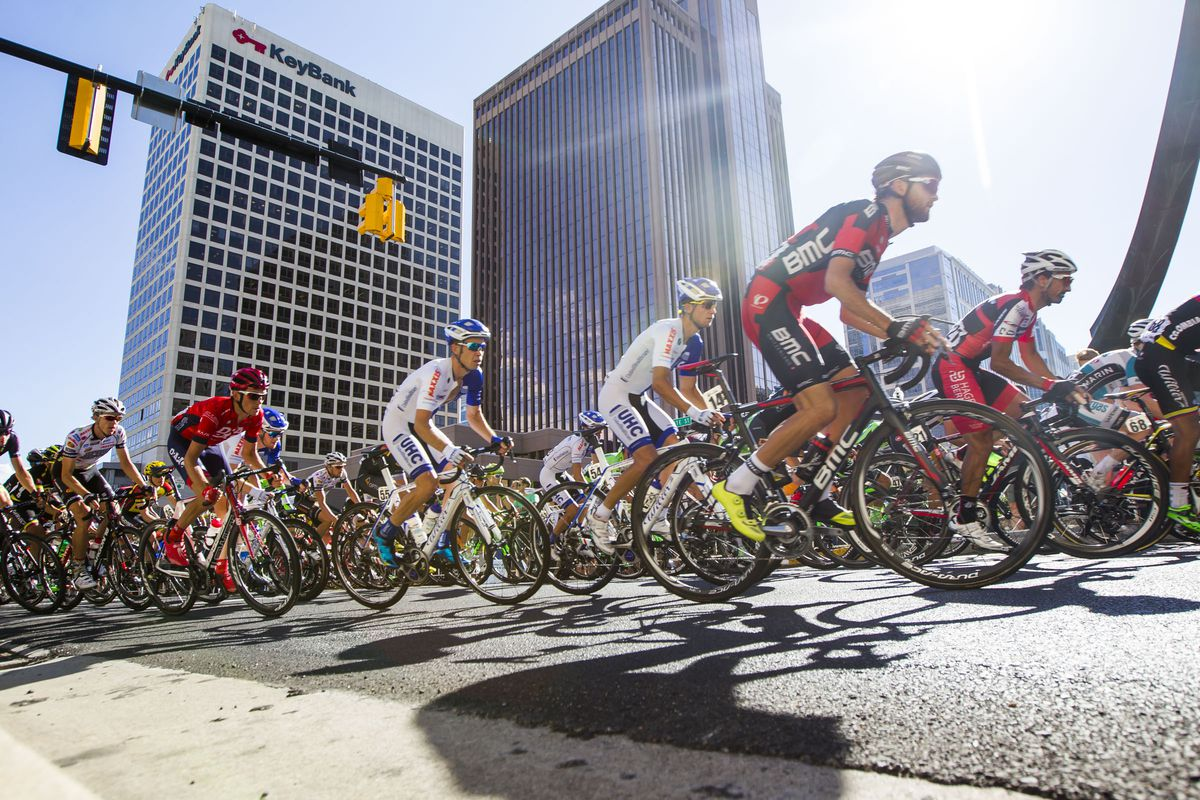 Tour of Utah bikers pass State Street and South Temple as Tour of Utah cyclists compete in the Stage 5 Salt Lake City Circuit on Friday, Aug. 7, 2015.