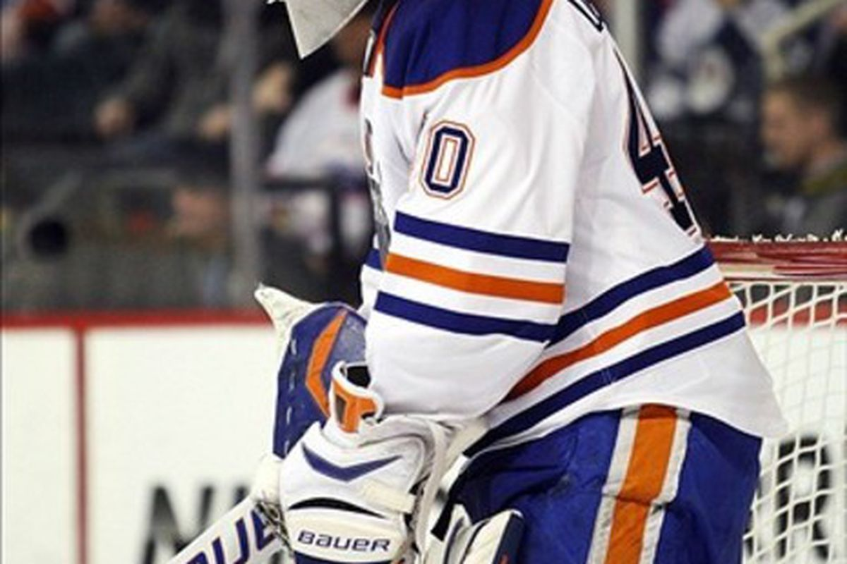 Feb 27, 2012; Winnipeg, MB, CAN; Edmonton Oilers goalie Devan Dubnyk (40) during the second period against the Winnipeg Jets at the MTS Centre. Mandatory Credit: Bruce Fedyck-US PRESSWIRE