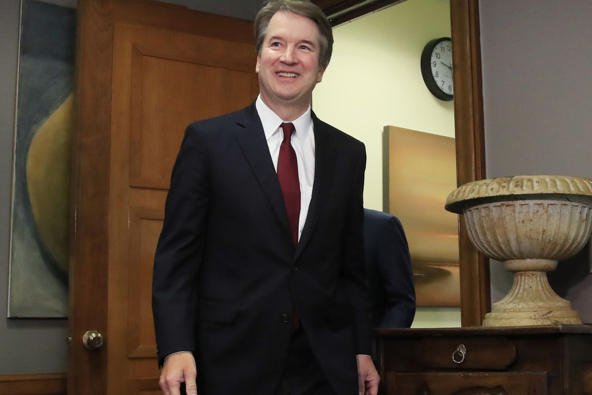 FILE - In this July 19, 2018, file photo, Supreme Court nominee Brett Kavanaugh arrives for a meeting with Sen. Sen. Bob Corker, R-Tenn., on Capitol Hill in Washington.