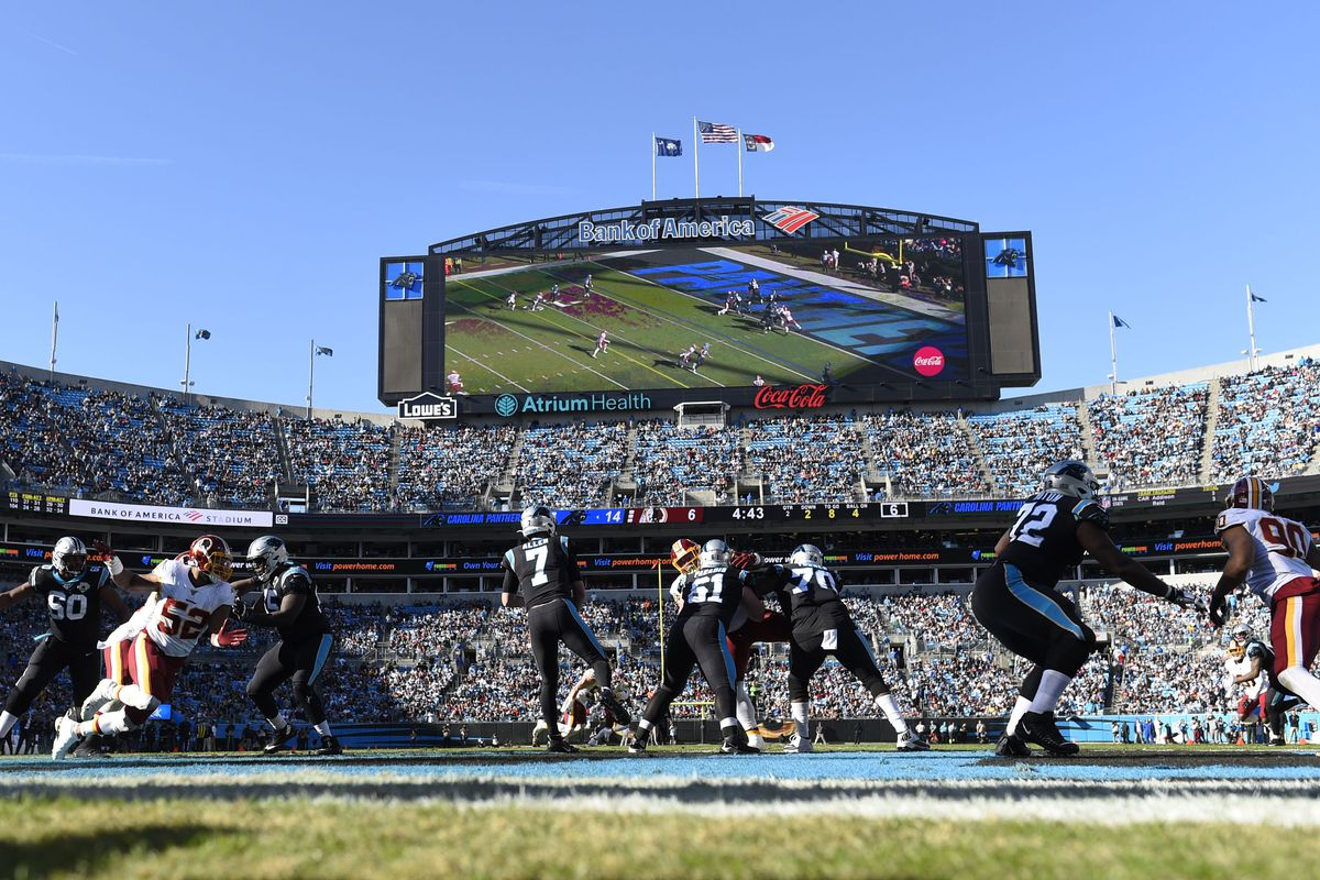 A general view of the field in the second quarter at Bank of America Stadium.