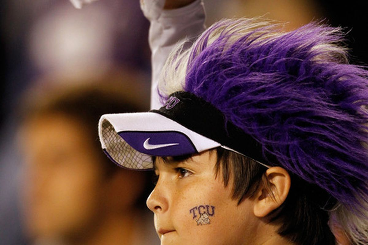 FORT WORTH TX - OCTOBER 23:  TCU fans celebrate as TCU beats the Air Force Falcons 38-7 at Amon G. Carter Stadium on October 23 2010 in Fort Worth Texas.  (Photo by Tom Pennington/Getty Images)