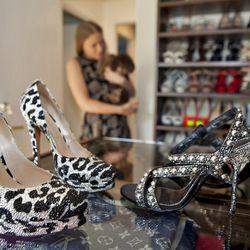 From left: Casadei leopard pumps with Swarovski crystals, $2,245; Dolce & Gabbana studded sandals, $1,700.