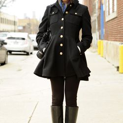 On Brittany: Boots from Michael Kors, a scarf and coat from Zara, small diamond earrings from her grandmother and a Michael Kors bag