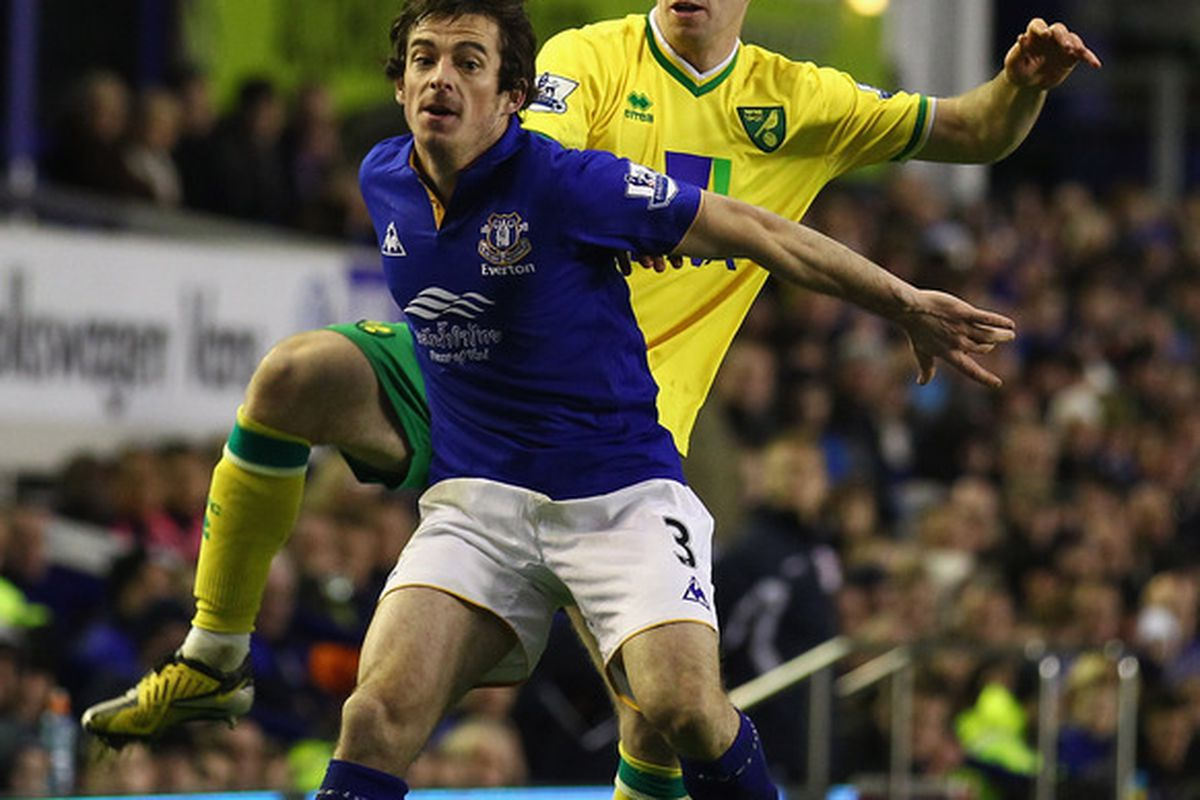 Candidate for Everton 'Player of the Year' Leighton Baines holds off Andrew Crofts of Norwich City at Goodison Park on December 17, 2011 in Liverpool, England.  (Photo by Clive Mason/Getty Images)