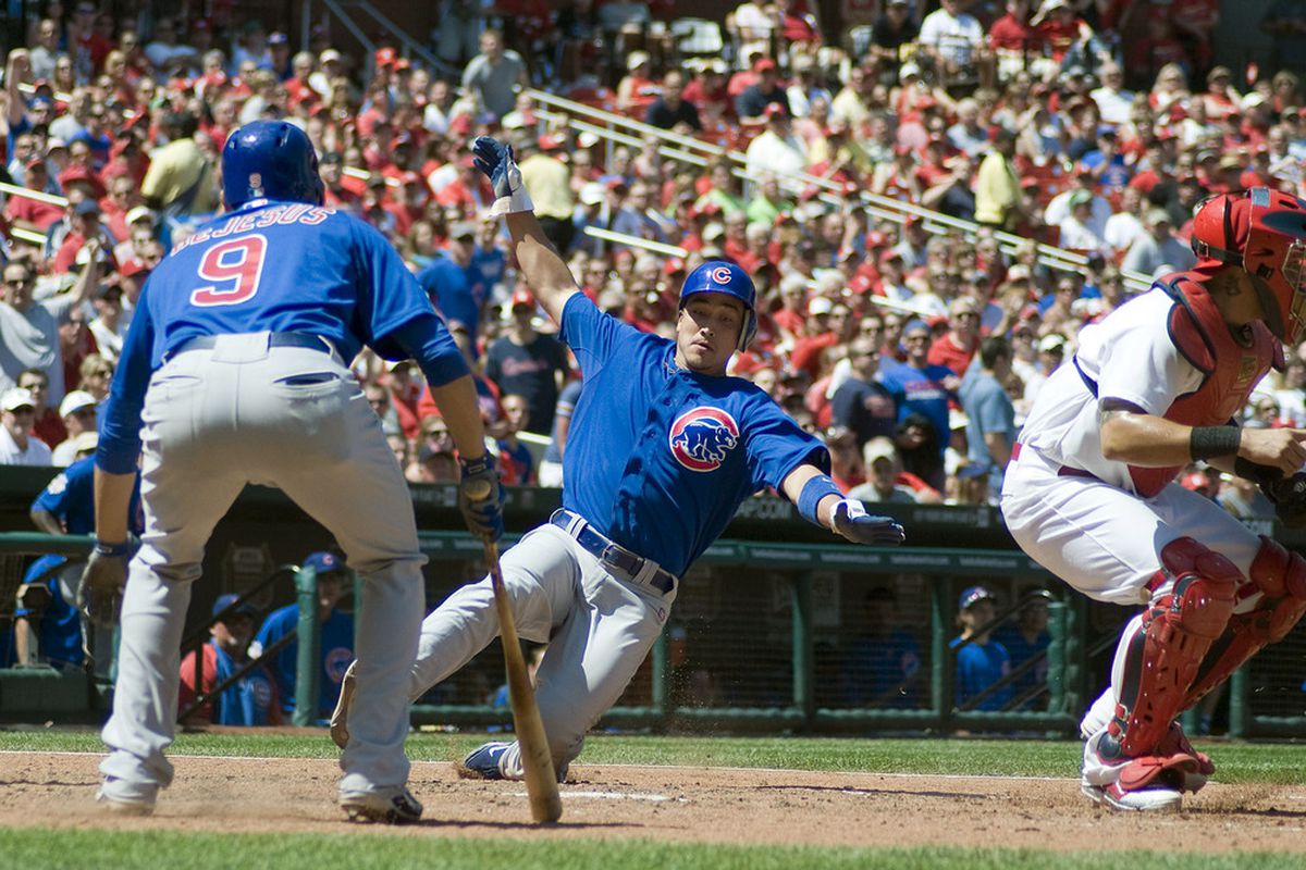 St. Louis, MO. USA; Chicago Cubs second baseman Darwin Barney scores on a single by center fielder Reed Johnsonagainst the St. Louis Cardinals at Busch Stadium. Credit: Jeff Curry-US PRESSWIRE