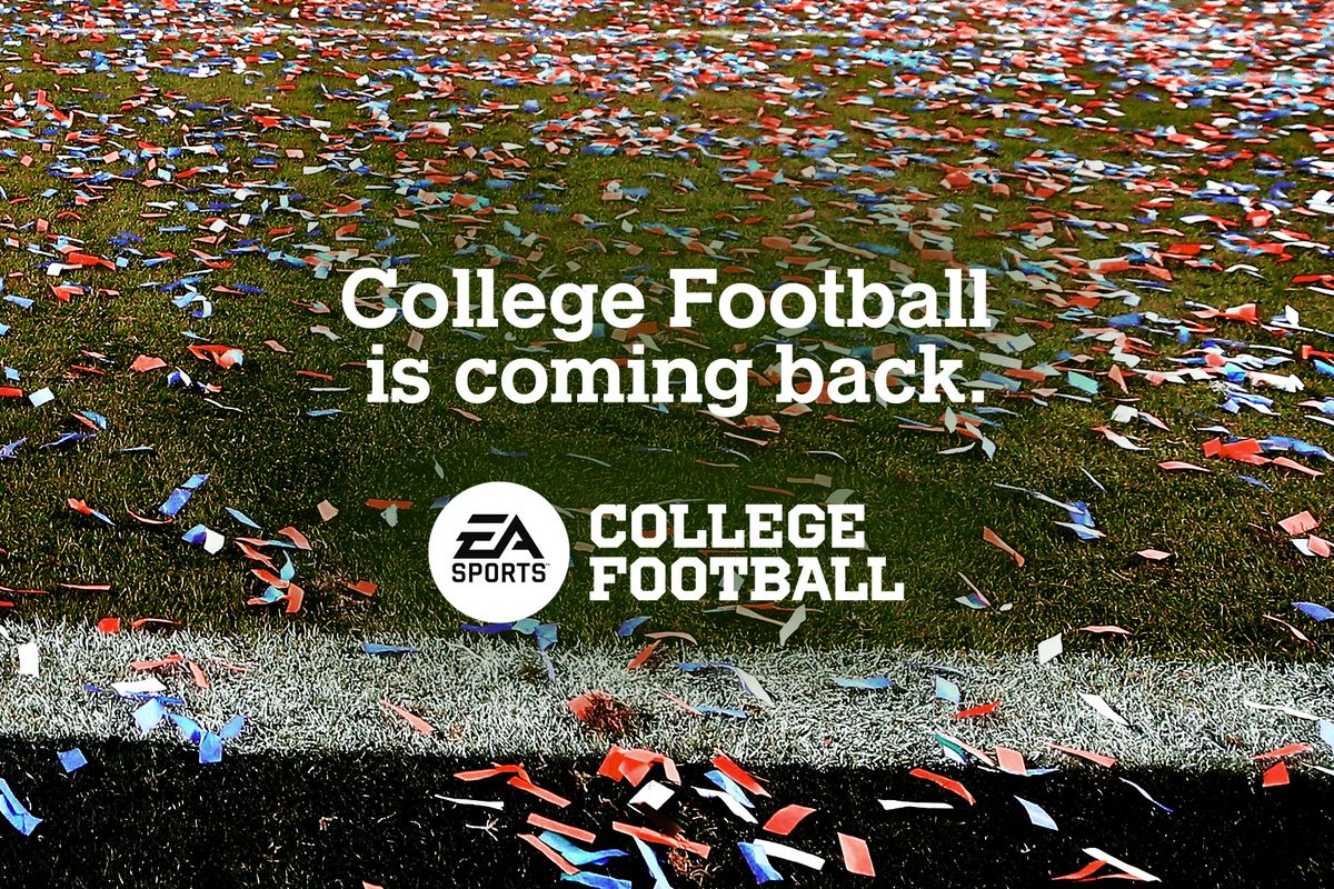 """artwork of a football field with """"College Football is coming back"""" and an EA Sports College Football logo superimposed on top of it"""