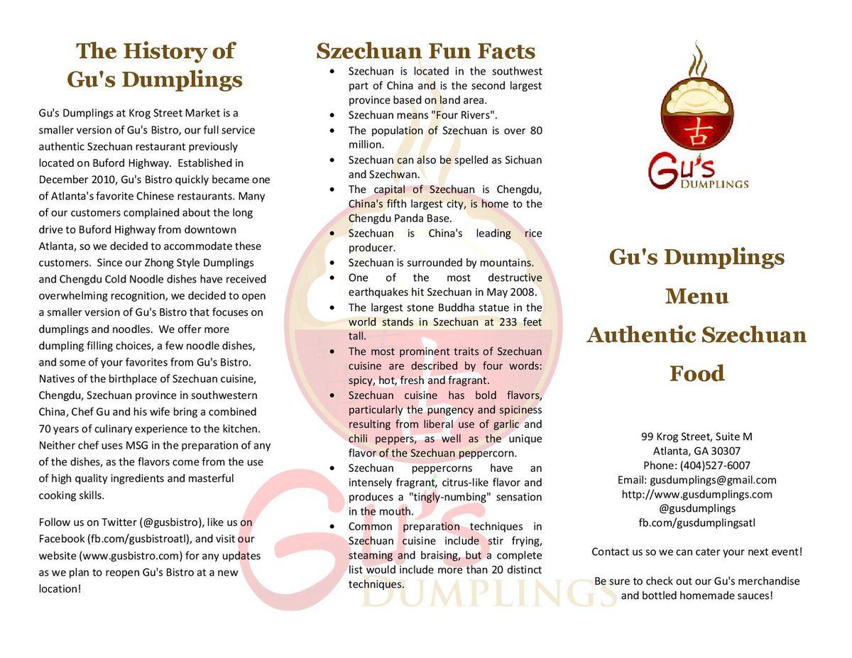 Gu's Dumplings menu