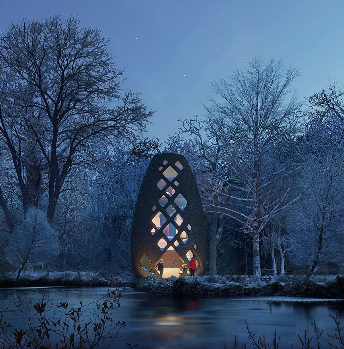 Rendering of a bean-shaped pod home standing vertically along a snowy river bank. The facade of diamond-shaped windows show a glowing interior.