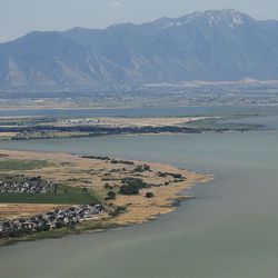Utah Lake is pictured on Thursday, June 29, 2017. The Utah Department of Environmental Quality is warning the public and pets to stay out of the lake's  Provo Bay due to the discovery of a blue-green algal bloom.