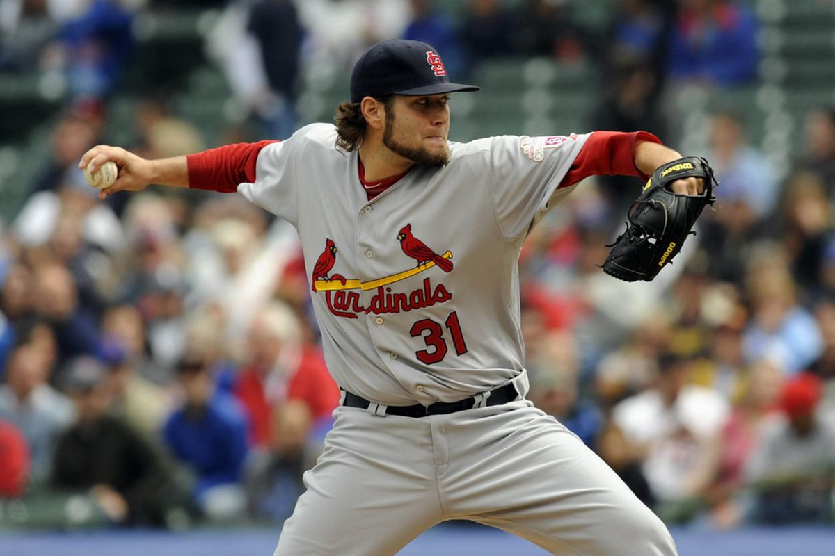 Apr 25, 2012; Chicago, IL, USA;  St. Louis Cardinals starting pitcher Lance Lynn (31) pitches against the Chicago Cubs in the first inning at Wrigley Field.  Mandatory Credit: David Banks-US PRESSWIRE