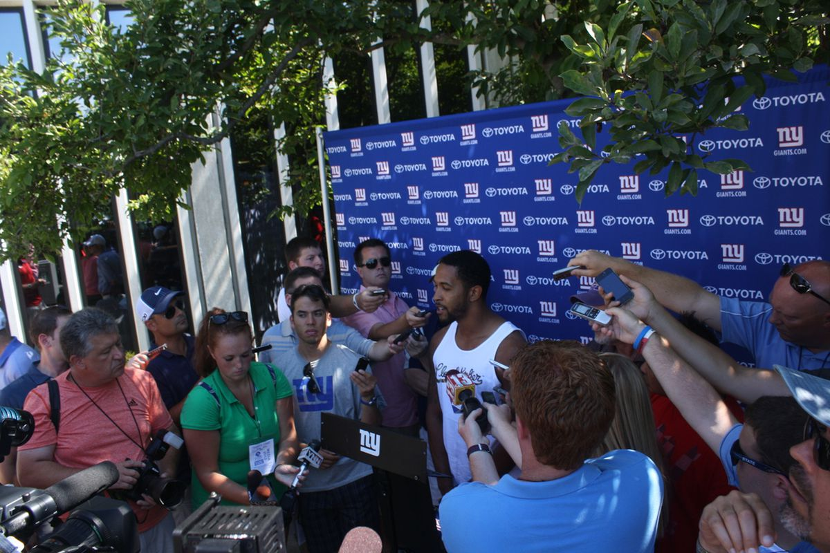 Terrell Thomas speaks to reporters Wednesday at UAlbany. (Photo by Ryan Valentine/Big Blue View)