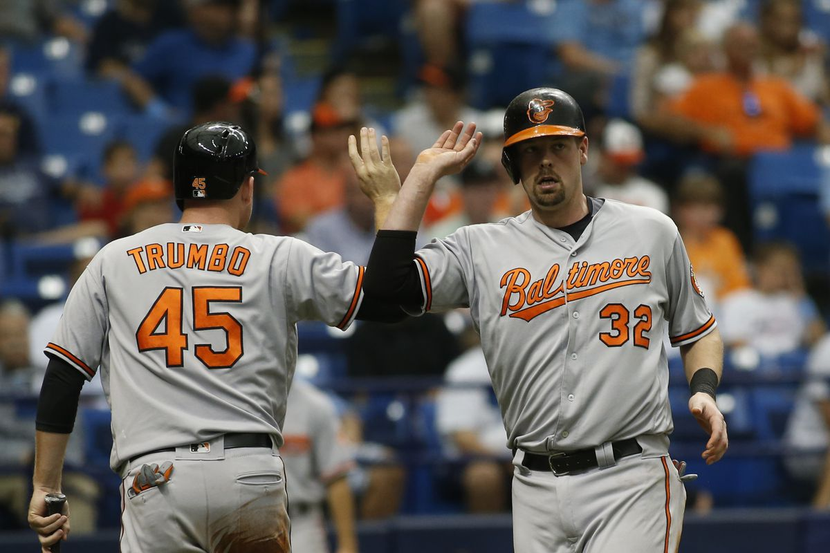 Matt Wieters and Mark Trumbo celebrate after scoring against the Rays.