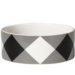Ceramic Dog Bowl in Black/White Plaid, $15