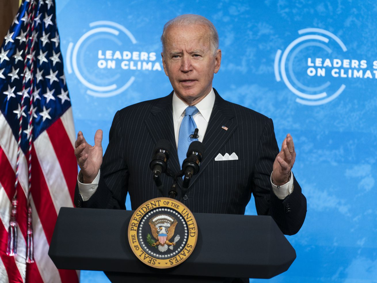 President Joe Biden speaks to the virtual Leaders Summit on Climate, from the East Room of the White House, Friday, April 23, 2021, in Washington.