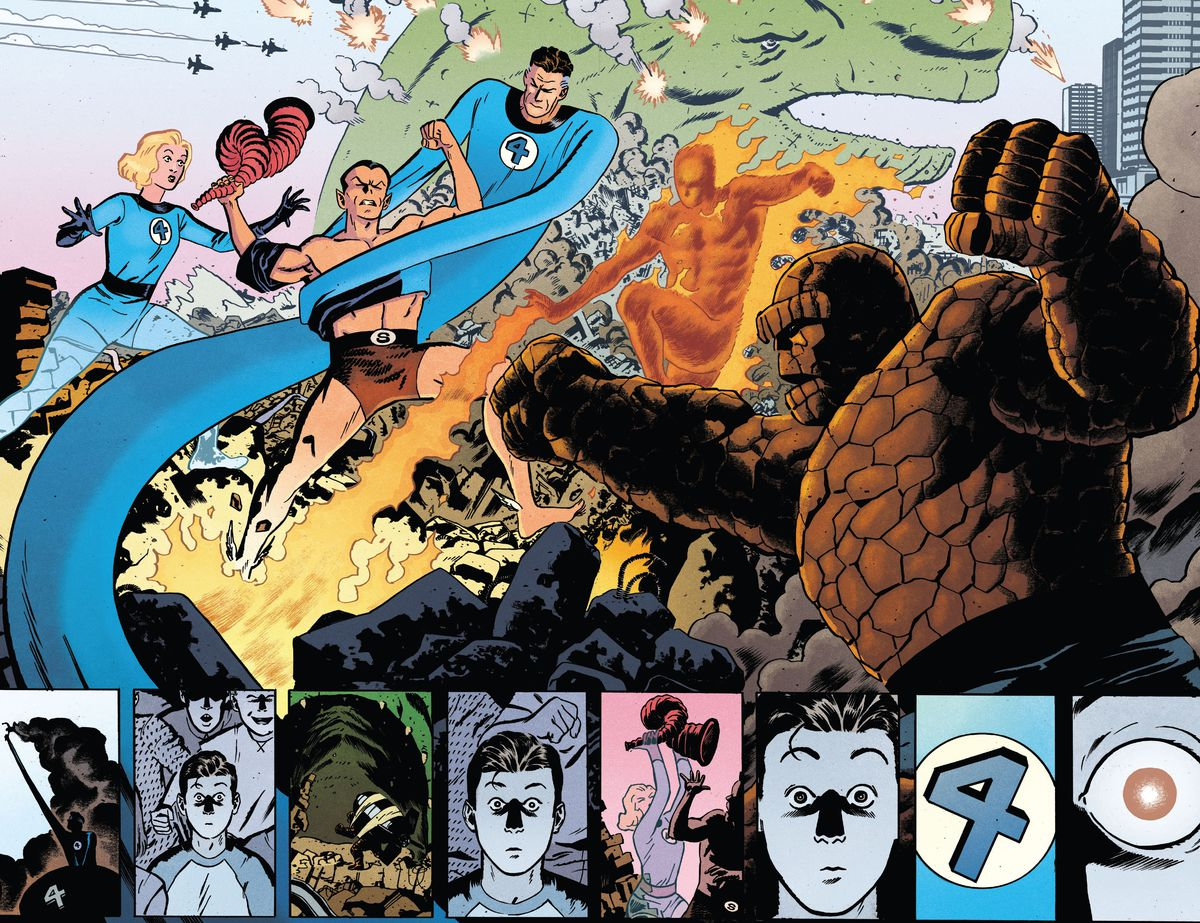 The Fantastic Four battle Namor and the Mole Man on live television, as a young Scott Summers/Cyclops looks on in awe and identification, in X-Men: Marvel Snapshots, Marvel Comics (2020).