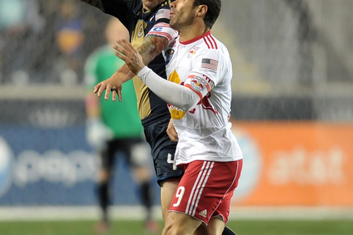 CHESTER PA- OCTOBER 16: Califf and JPA are Chivas USA teammates now (Photo by Drew Hallowell/Getty Images)