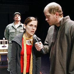 """Nicki Nixon, center, and Lane Richins in """"Too Much Memory,"""" based on """"Antigone."""" In the background is Justin Ivie."""