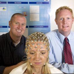BYU professors Michael Larson (left) James LeCheminant (right) measured neural responses to food after exercise.<br><br> 1208-95 35.CR2<br><br> Exercise and food motivation<br><br> James LeCheminant (tie) , Michael Larson (blue)<br><br> August 30, 2012<br><br> Photography by Mark A. Philbrick<br><br> Copyright BYU Photo 2012<br><br> All Rights Reserved<br><br> photo@byu.edu (801)422-7322