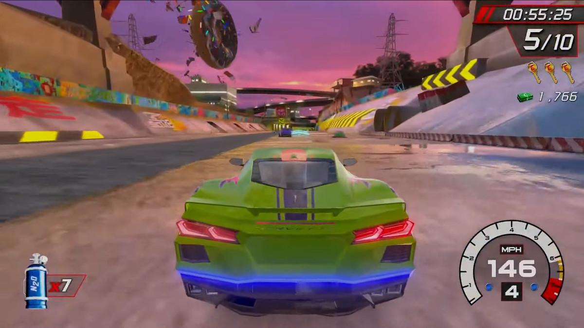 a green sports car in Cruis'n Blast