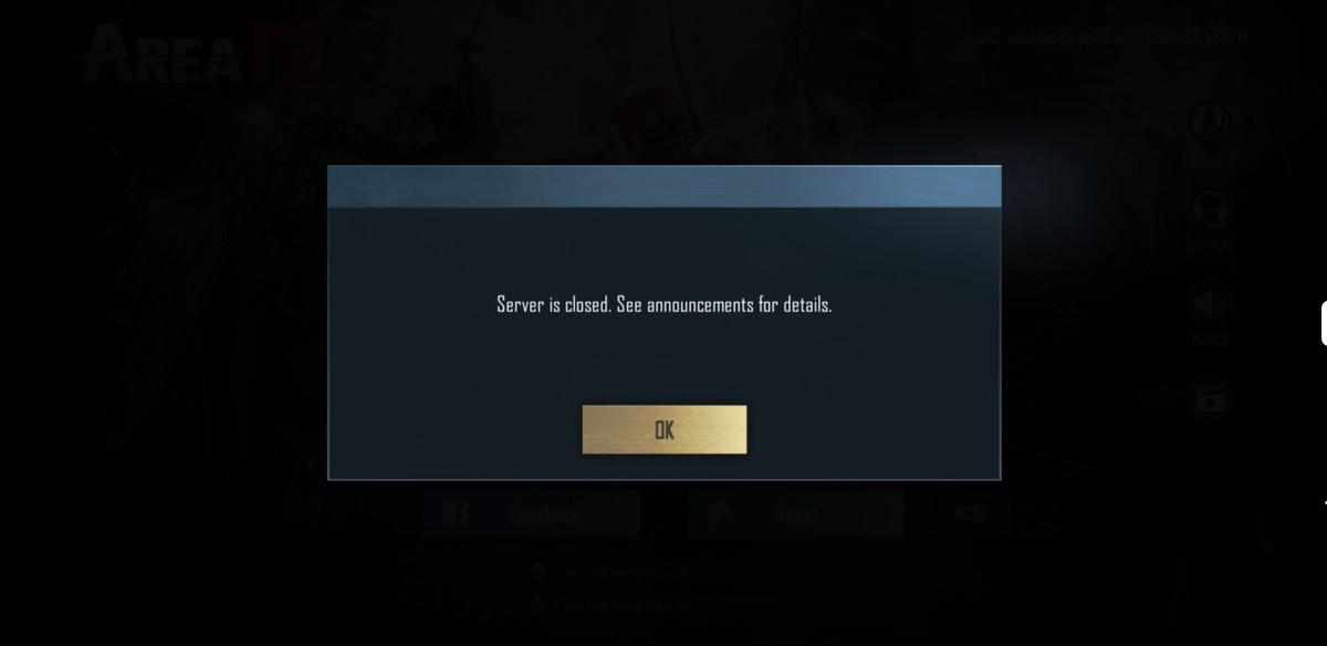 Server closed notice