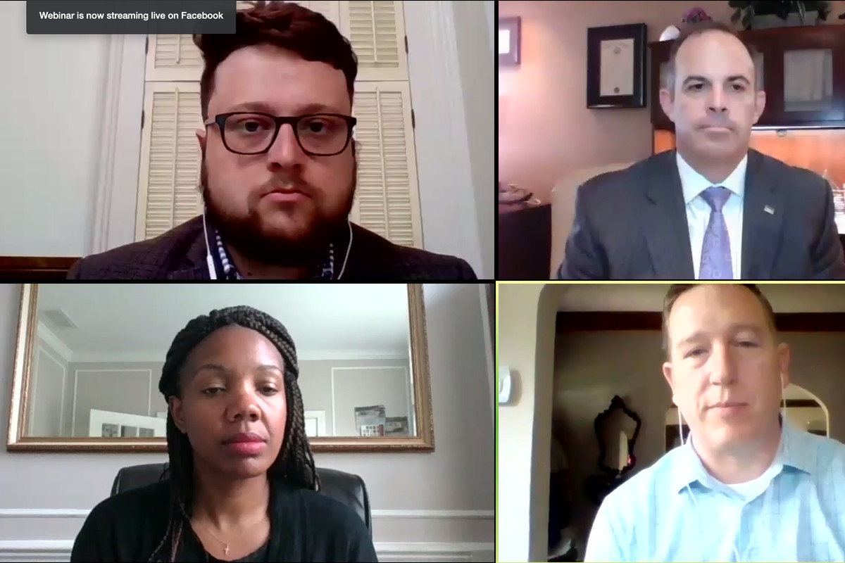 Indianapolis Public Schools Superintendent Aleesia, Wayne Township Superintendent Jeff Butts, the mayor's charter school director Patrick McAlister speak Thursday in a virtual town hall on school reopening moderated by Indy Chamber Chief Policy Officer Mark Fisher.