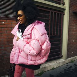 Julia Sarr-Jamois in a pink puffer jacket.