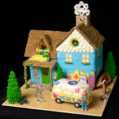 This ocean themed ginger bread house uses cool light blue and green icing to create a summery feel.