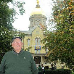 Back on campus after enrolling as a freshman in 1950, Billy Casper stands in front of a landmark that hasn?t changed in 62 years: Notre Dame?s signature Golden Dome.