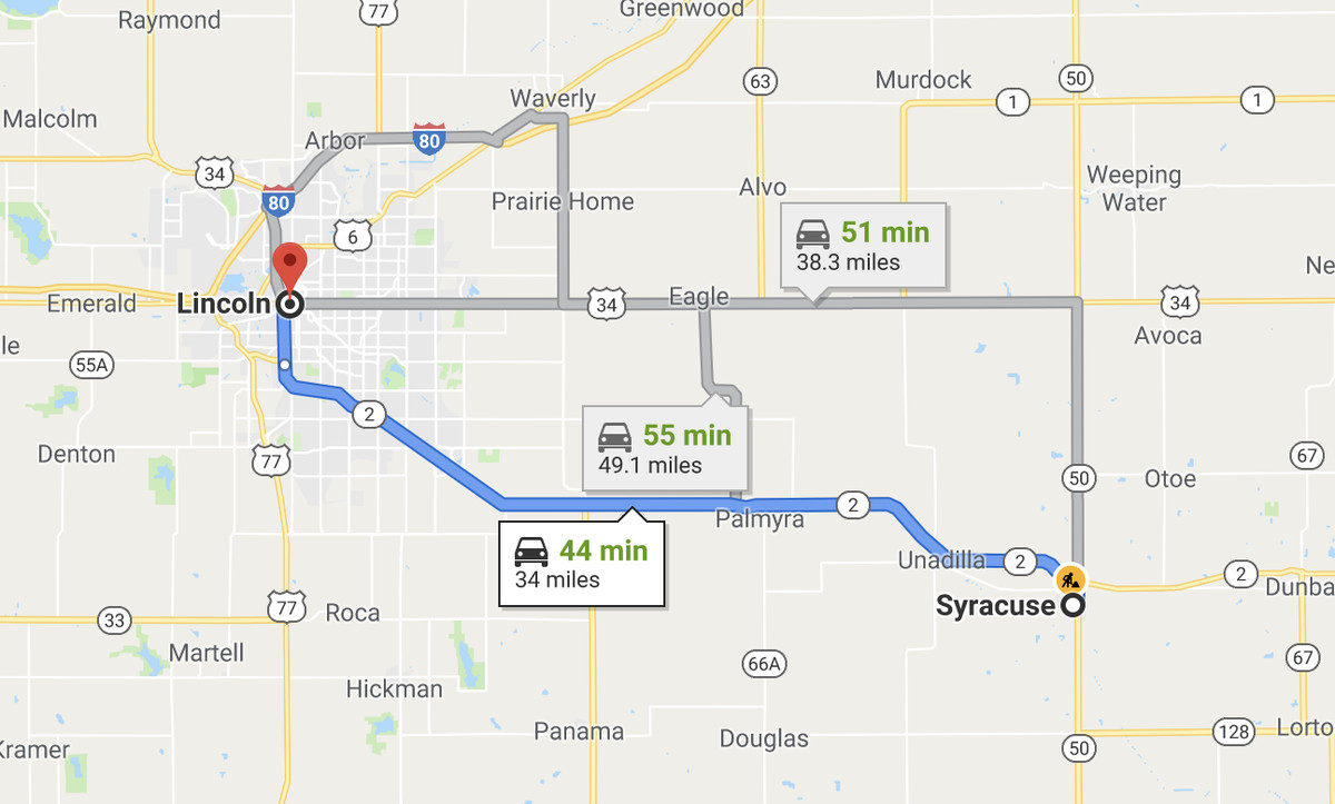 There is a Syracuse, Nebraska 34 miles from Lincoln.